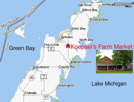 Directions & Google Map - Koepsel\'s Farm Market in Door County, WI